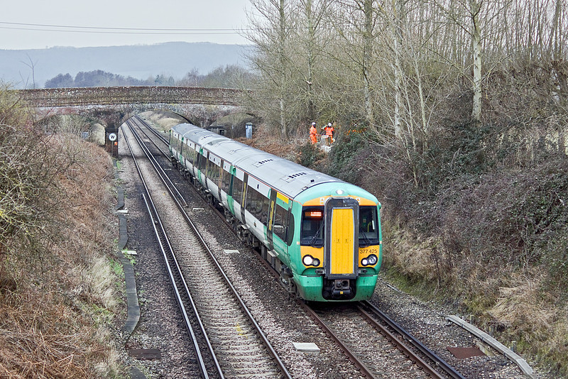 25th Jan 10:  377425 at Cold Waltham. 1C65 is the 14.12 from Portsmouth Harbour to Horsham which will then combine with the 14.30 from Bognor and continue to Victoria as 1C63