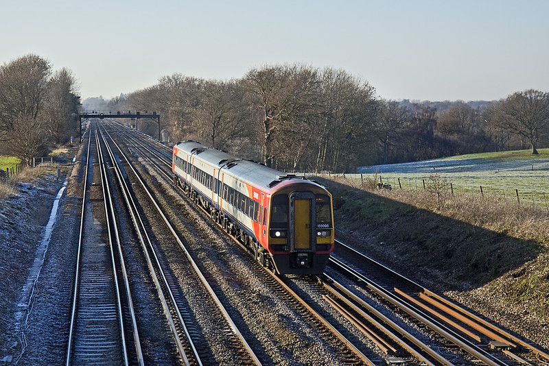 4th Jan 10:  The 12.45 from Salisbury to Waterloo formed of 159008 runs twixt Hook and Winchfield.