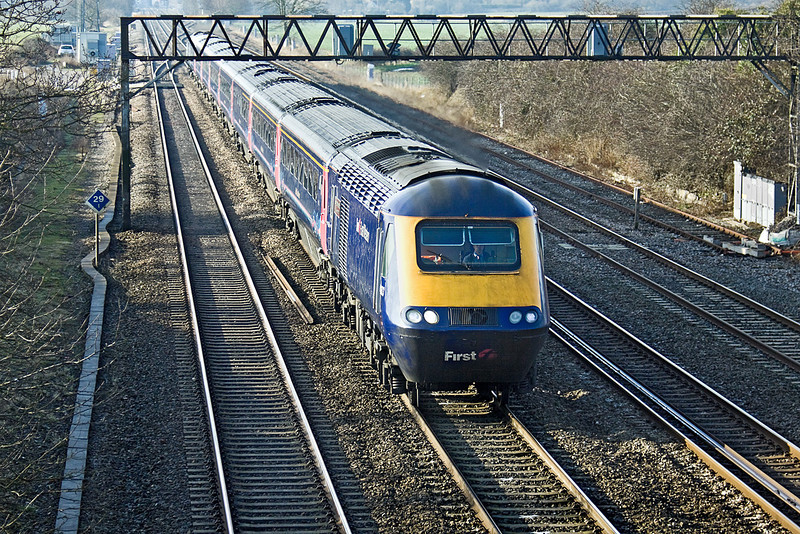 21st Jan 10:  The 11.01 fast from Oxford to Paddington, 1P39, races up the Main and is about to pass under  Milley Bridge in Waltham St Lawrence