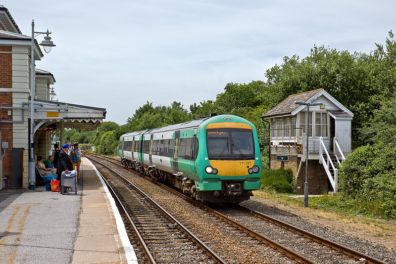 1st Jul 10:  Running into Rye past the old signal box is 171723 on the 11.32 from Brighton to Ashford
