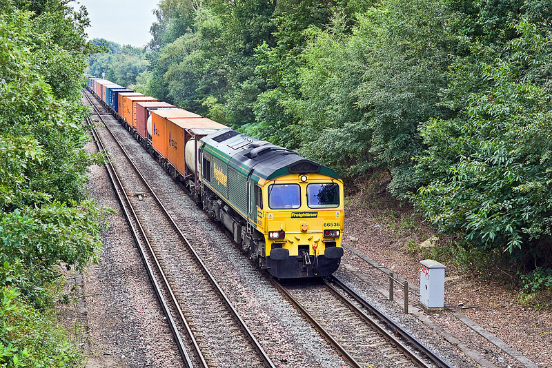 27th Jul 10:  Crawling towards Virginia Water is the late running 4M58 from Southampton to Crewe with 66536 on the point