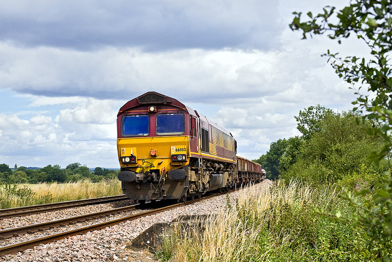 17th Jul 10:  The Saturday Departmental from Hinksey (Oxford) to Eastleigh is in the hands of 66083. Captured here at Grazeley