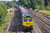 19th Jul 10:  66954 heads to the north through Lower Basildon with 4M68 from Southampton to Birch Coppice