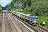 28th Jul 10:  59104 plods up the slow line with loaded boxes for Woking from Merehead