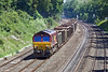 4th Jun 10:  The Bow to Appleford loaded Spoil (6V36 Mudex) enters the Sonning Cutting in the hands of 66095