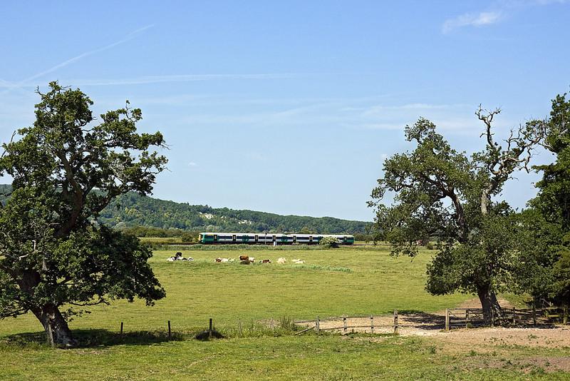 28th Jun 10:  A 3774 runs through the water meadows as it nears Arundel