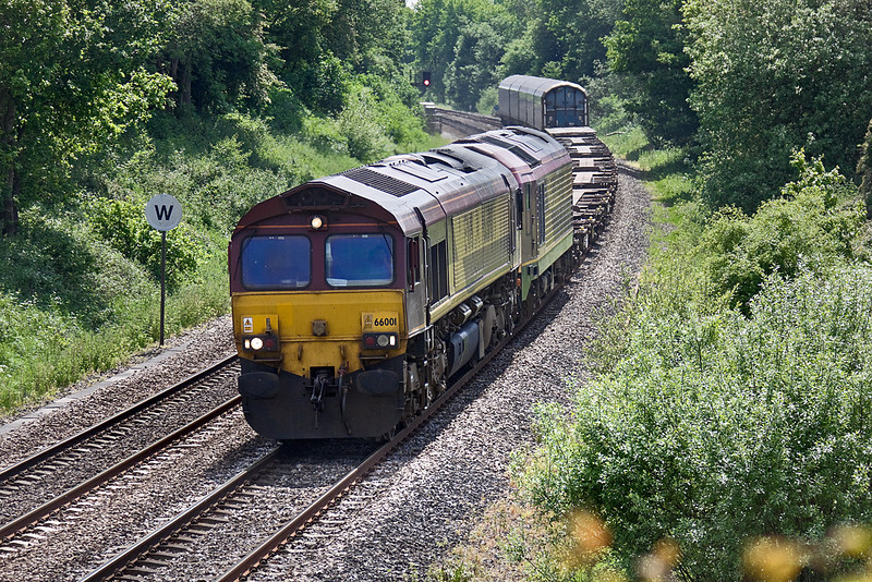2nd Jun 10:  66001 with 67021 DIT leads the Marchwood to Didcot MoD sevice.  6V38 now also carries traffic that until the yard closed ws sent direct to Wembley
