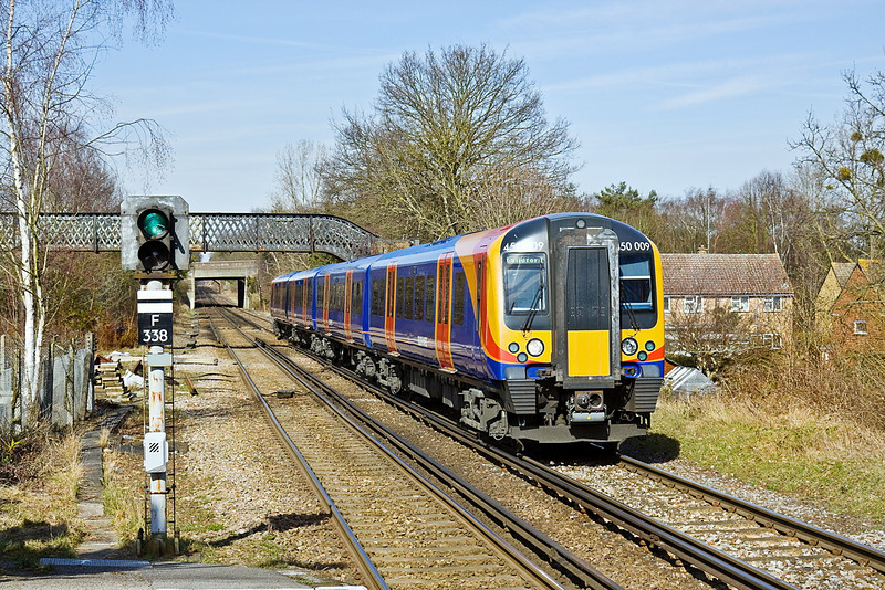 16th Mar 10:  450009 forms 2N35 the 13.52 from Ascot to Guildford seen here arriving at Bagshot