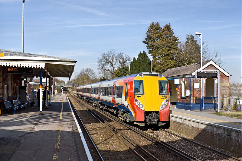 16th Mar 10:  Arriving at Bagshot is South West Trains Juniper unit 458007 working 2N37 the14.23 from Ascot to Guildford