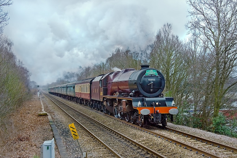 25th Mar 10:  LMS Princess Pacific 6201 Princess Elizabeth roars up hill through Sandhust with the day's Cathex to Bath and Bristol