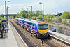 11th May 10:  First TransPennine service from Manchester Airport to Cleethorpes races through Hatfield & Stainforth.  185150 left Manchester at 10.55