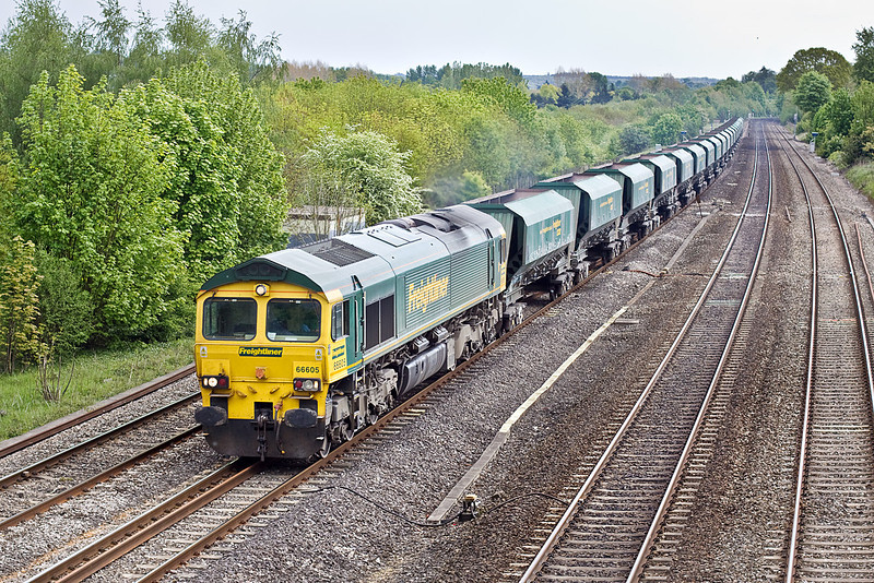 18th May 10:  66605 running as 6B11 from Thorney Mill to Stoke Gifford passes through Lower Basildon