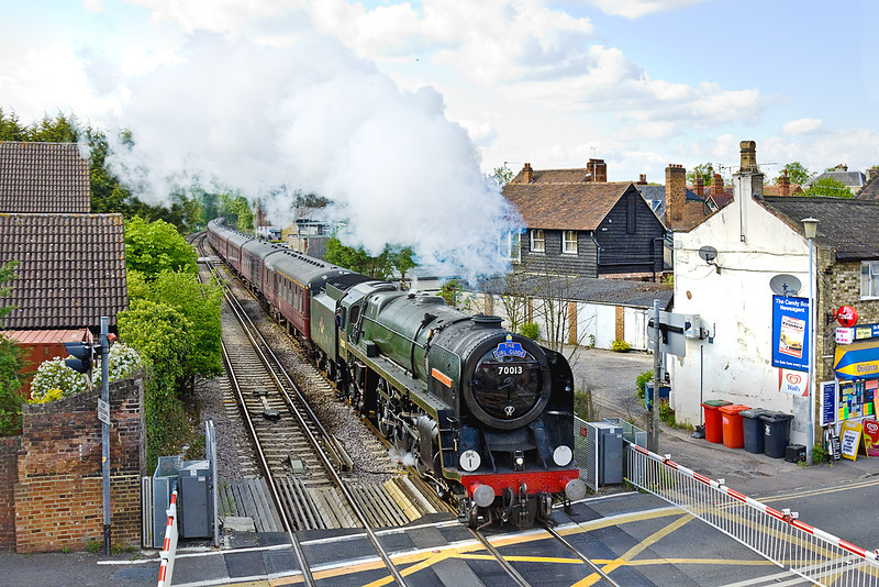"""3rd May 10:  The first of the returning specials from Windsor to Victoria runs through Datchet,  """"The Girl Guide"""" is powered by 70013 """"Oliver Cromwell"""""""