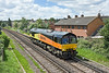 28th May 10:  Newly rebranded 66844 is well into the 128 mile journey from Eastleigh to Ashford as it runs through Egham