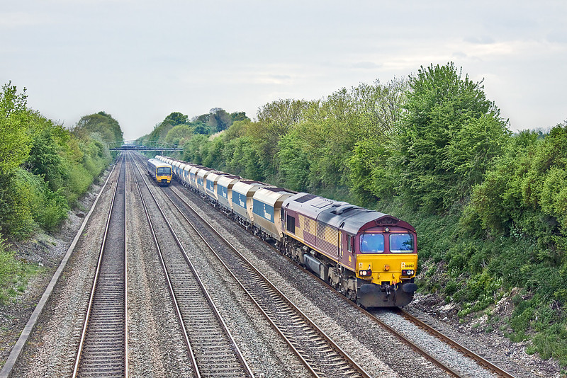 5th May 10:  66002 plods up the Relief line at Shottesbrooke with 6A83 from Machen to West Drayton