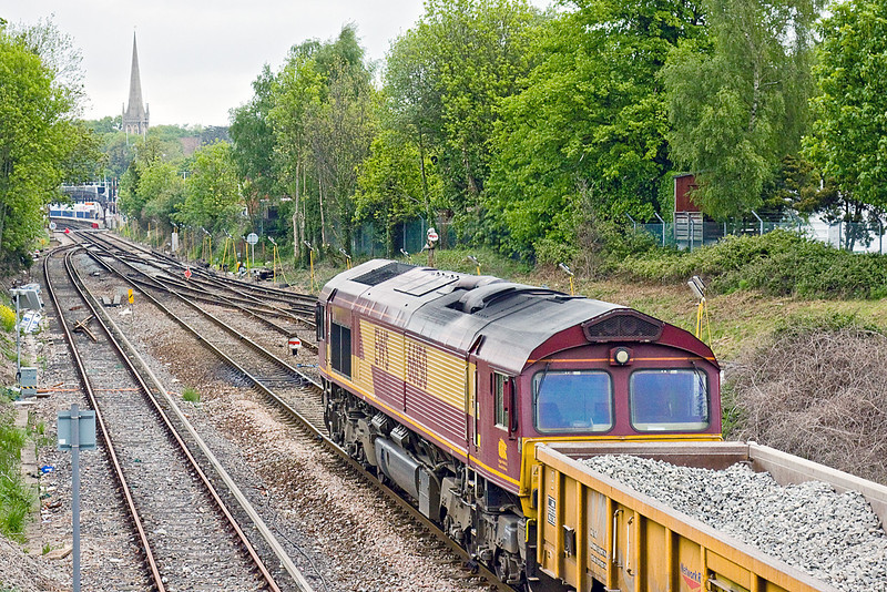 16th May 10:  66150 sits at Wokingham with ballast from the track relaying on the line to Crowtrhorne