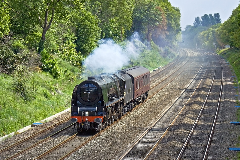 18th May 10:   Working Back to Crewe is LMS Pacific 6233 Duchess of Sutherland. Seen here at Duffield Road in the Sonning Cutting