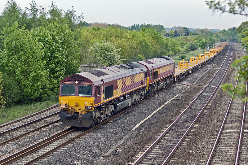 18th May 10:  66213 with 59203 DIT powers the afternoon departmental from Eastleigh to Hinksey Yard, it will later continue north to Bescot.  The 59 is on it's way to Crewe from Westbury