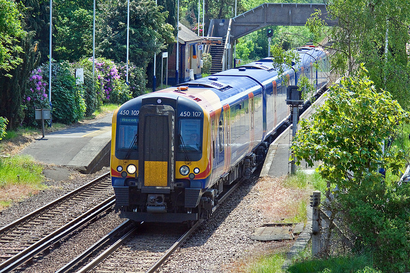 25th May 10:  The 13.00 from Guildford is formed of 450107.  2N40 is pictured here leaving Bagshot