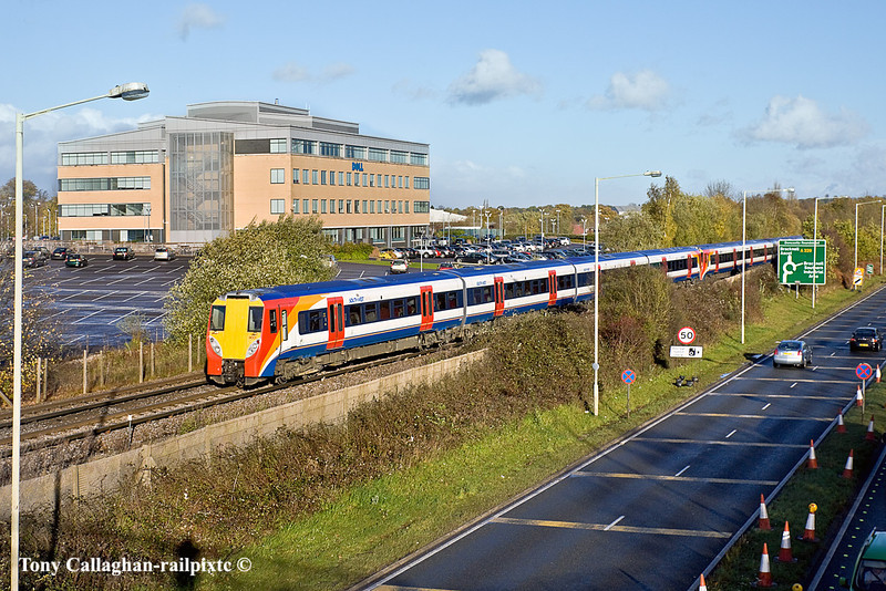 11th Nov 10:  The 13.20 from Waterloo to Reading composed of 458001 & 023 runs along side the A329 in Bracknell