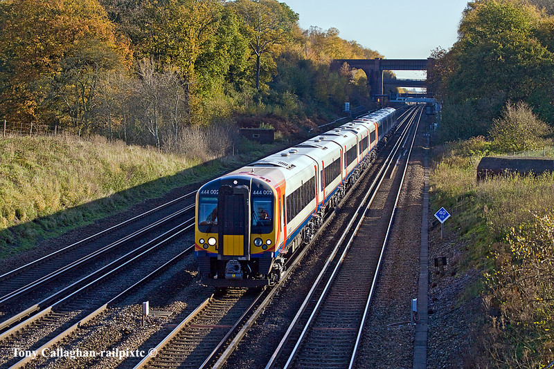 10th Nov 10:   444002 working 1W57 the 08.05 Waterloo to Weymouth at Totters Lane