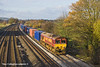 23rd Nov 10:  66167 is on the point of 4O21 the Intermodal from Hams Hall to Southampton.  Pictured at Lower Basildon