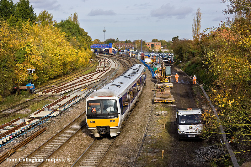 3rd Nov 10:  Departing Princes Risborough for Marylebone is 165003 working 1H30 the 11.16 from Bicester North.  Much activity is going on preparing for the weekend's track renewals.