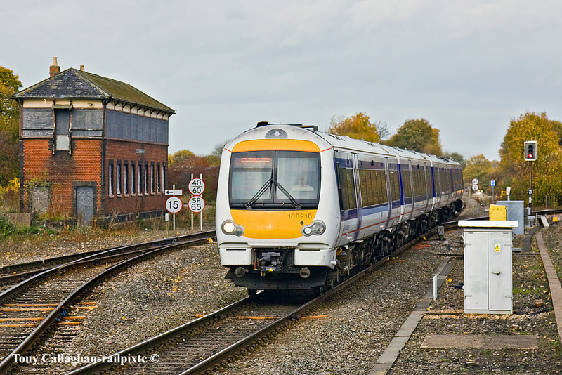 3rd Nov 10:  168216 runs south into Princes Risborough and passes the old GWR signal box