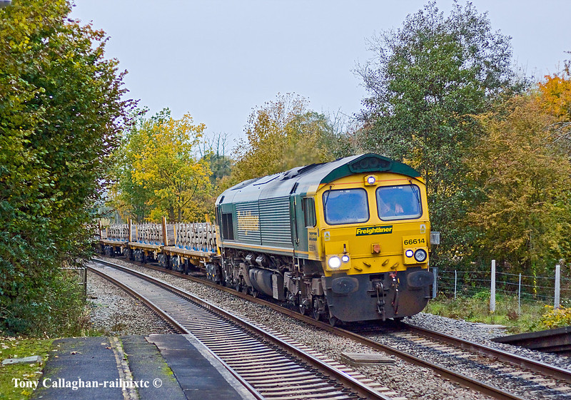 29th Oct 10:  66614 is rounding the curve into Midgham with 4E31 scrap sleepers from Taunton to Peterborough