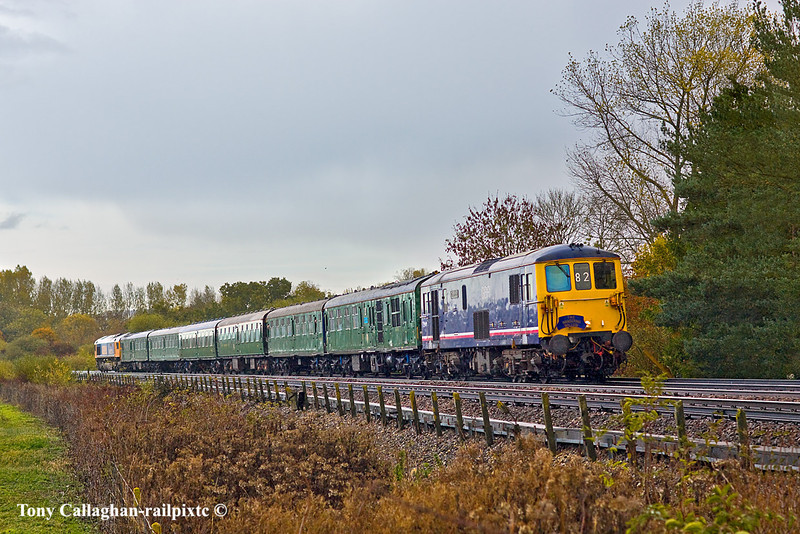 30th Oct 10:  The GBRf Wandering Willow tour from Hastings to the Sussex coast resorts via London Bridge was TnT by 73141 & 66712 and is pictured passing through a very, very wet Warningcamp, near Arundel