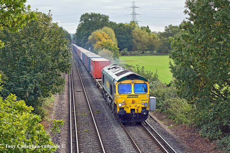 18th Oct 10:  Trundling across Addlestone Moor is 66542 working 4M58 from Southampton to Crewe.  Just visible under the distant bridge are the wagons of the Neasden to Wool sand empties