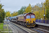 29th Oct 10:  Seen at Midgham is 3J43 on its way to Didcot in the hands of Euro sheds 66073 and 66026
