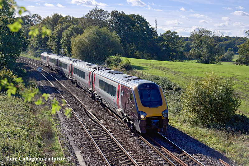 20th Oct 10:  1M50 the 12.45 from Bournemouth to Manchester at Silchester formed of 221135