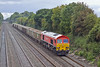 16th Sep 10:  Captured at Shottesbrooke during a rain shower 59206 is on the point of 7A17, loaded mixed boxes from Merehead to Acton