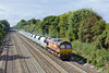 16th Sep 10:  With 14 empty VTG IIAs in tow 66106 works 6A69 from Theale to Acton through a sunny Shottesbrooke