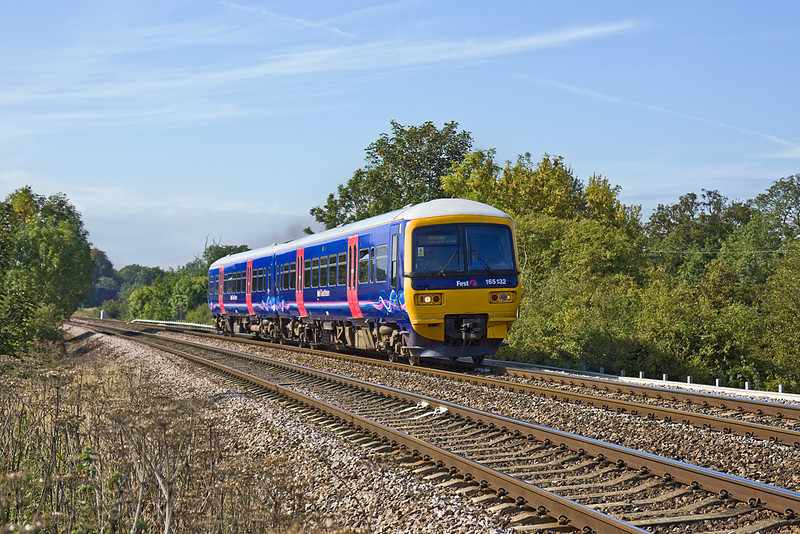21st Sep 10:  Climbing away from Mortimer is the 10.37 from Basingstoke to Reading in the hands of 165132