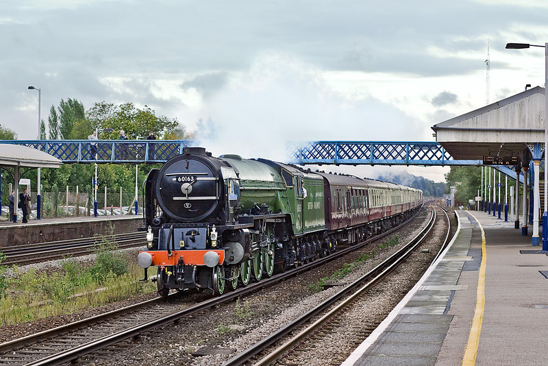 29th Sep 10:  Roaring through Winchfield is LNER A1 Pacific 60163 'Tornado' running from Victoria to Swanage