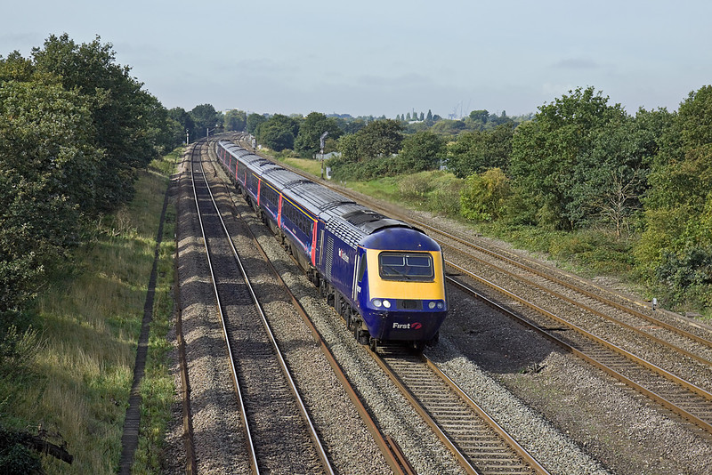 30th Sep 10:  Charging up to London on the Main Line away from Langley is 43120. This train Left Cardiff at 09.55 and is on time as it passes Richings Park