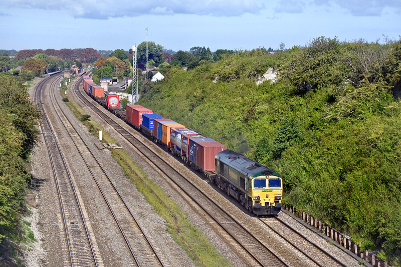 18th Sep 10:  With Cholsey station in the background 66503 heads up the Relief with 4O27 from Garston to Southampton