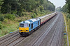 27th Sep 10:  Despite the foul weather the chance of fotting the pale blue tug working coaches was too good too miss.  60074 'Teanage Spirit' passes Duffield Road, in the Sonning Cutting, while working 5Z78 from Toton to Eastleigh