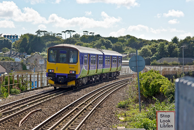 8th Sep 10:  In Silver Link livery but sporting FGW branding 150121 runs onto the Hayle viaduct with a Plymouth to Penzance service