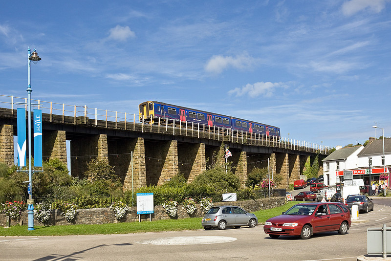 8th Sep 10:  Leaving Hayle and crossing the famous viaduct is 150232 working the 12.39 from Plymouth to Penzance