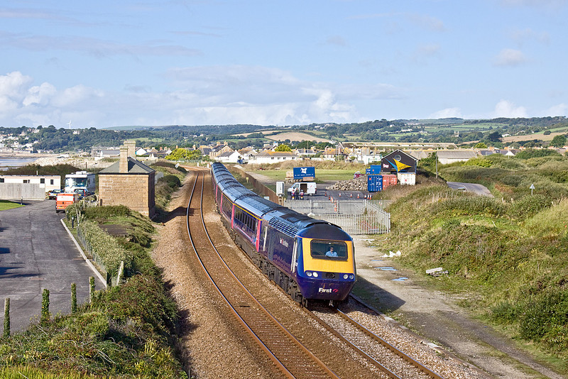 8th Sep 10:  Getting into it's stride as it passes through Marazion is 43038 on the 10.00 to Paddington