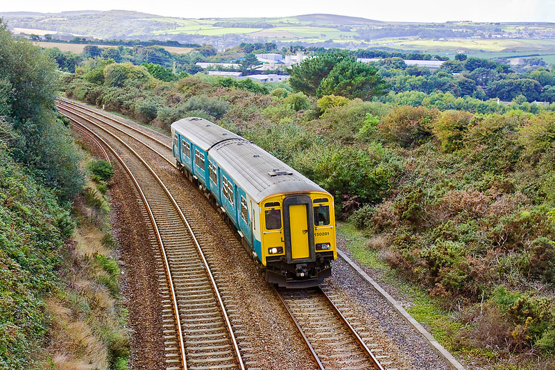 8th Sep 10:  In Arriva Trains Wales livery 150281 climbs through Angarrak working the 13.00 from Penzance to Plymouth