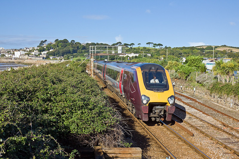 8th Sep 10:  Running on the single line section outside Penzance station is 220013 working the 09.40, 1M49, to Manchester Piccadilly