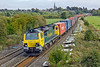 """21st Sep 11:  70001 """"Power Haul"""" heading 4M68 from Southampton To Birch Coppice makes an impressive sight as it roars away from Kings Sutton"""