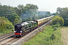 3rd Aug 11:  35028 'Clan Line' heads east towards Theale with the days Orient Express to Bristol