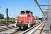4th Jun 11:  DB Ralion shunter 363 042-3 trundles towards the buffers at the end of platform 4 at Rostock.  The driver got out and returned with a bag of goodies from the sation buffet and the drove away from the station and back towards the docks.