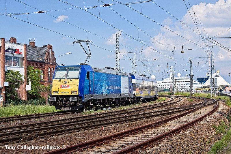 6th Jun 11:  The daily Connex service from Leipzig arrives at it's destination at Wernamunde powered by 146 520-2.  It was this service that was used to get me to and from Berlin