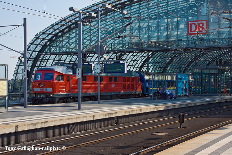 10th Jun 11:     A very clean Ludmilla 234 278-3 waits to depart west with an ECS composed of  of Russian stock from platform 8 at Berlin Hbf